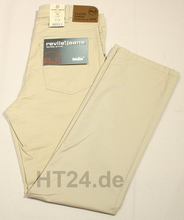 REVILS Jeans 342 V-4801 Stretch hellbeige leicht W60/L34